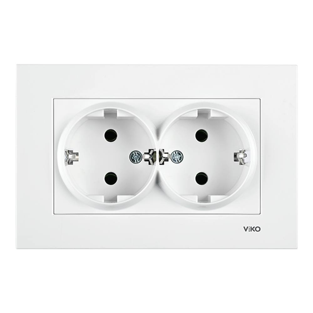 Doble base enchufe schuko Viko Karre blanco