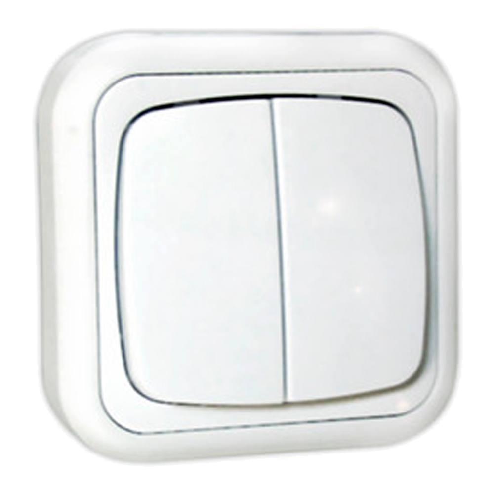 Doble conmutador superficie blanco