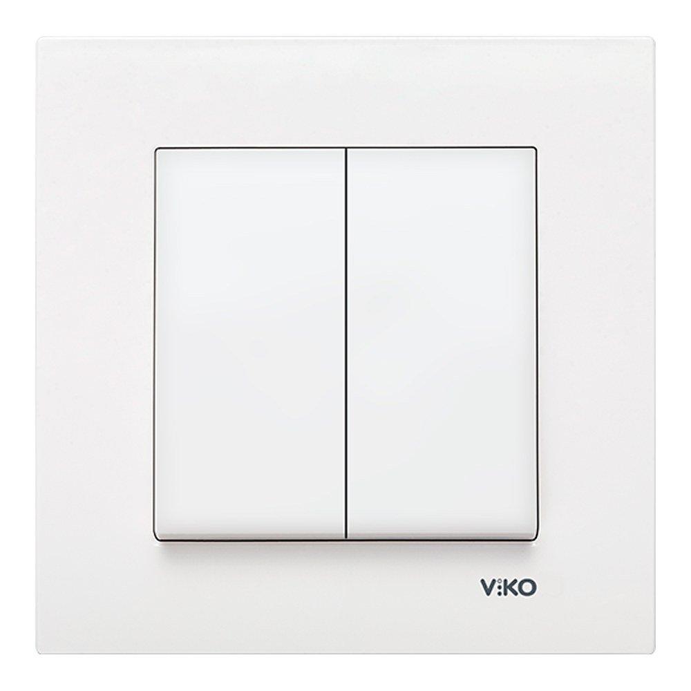 Doble conmutador Viko Karre blanco