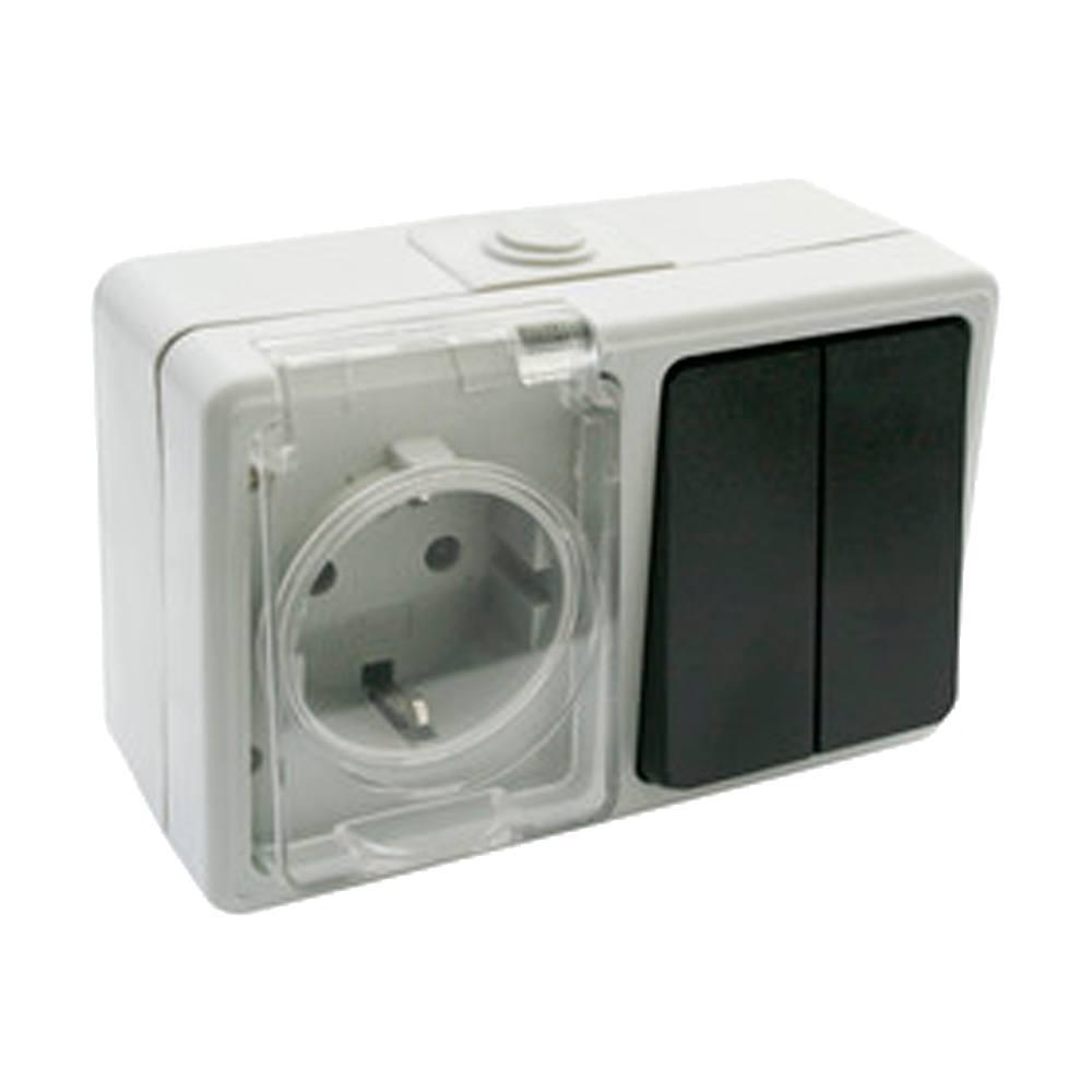 Enchufe y doble interruptor estanco superficie