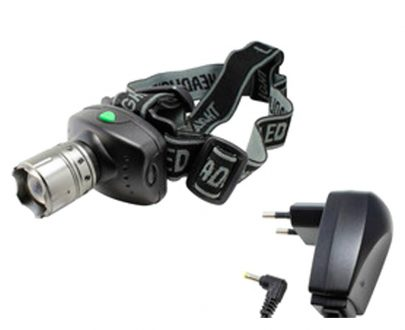 Linterna frontal led 3 w con zoom recargable profesional